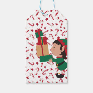 Elf Balancing GIfts and Candy Canes Gift Tags