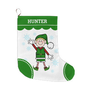 Elf Boy (blonde hair) Large Christmas Stocking