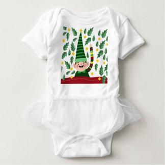 Elf Christmas Green Hat Leaves Cute Greeting Baby Bodysuit