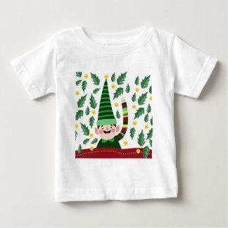Elf Christmas Green Hat Leaves Cute Greeting Baby T-Shirt