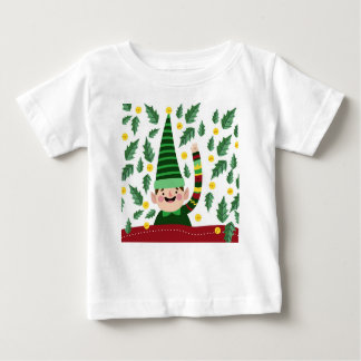 Elf Christmas Green Hat Leaves Cute Greeting Baby T-Shirt