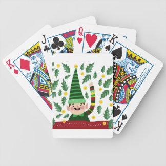 Elf Christmas Green Hat Leaves Cute Greeting Bicycle Playing Cards