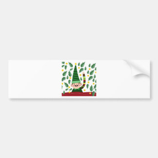 Elf Christmas Green Hat Leaves Cute Greeting Bumper Sticker