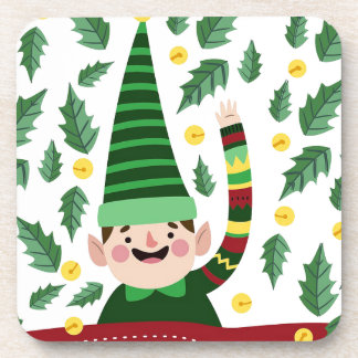 Elf Christmas Green Hat Leaves Cute Greeting Coaster
