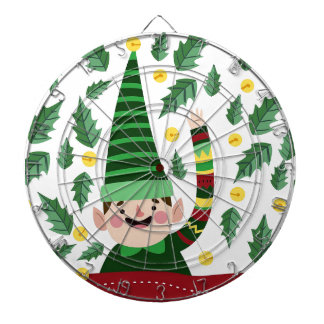 Elf Christmas Green Hat Leaves Cute Greeting Dartboard