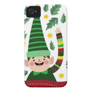 Elf Christmas Green Hat Leaves Cute Greeting iPhone 4 Cover