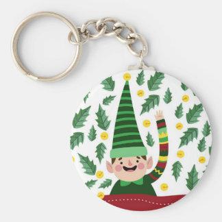Elf Christmas Green Hat Leaves Cute Greeting Keychain