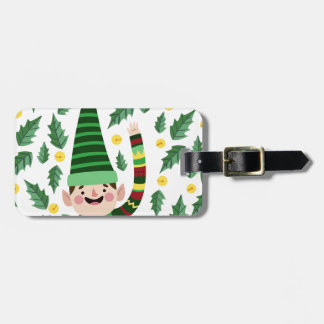 Elf Christmas Green Hat Leaves Cute Greeting Luggage Tag