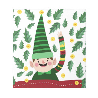 Elf Christmas Green Hat Leaves Cute Greeting Notepad