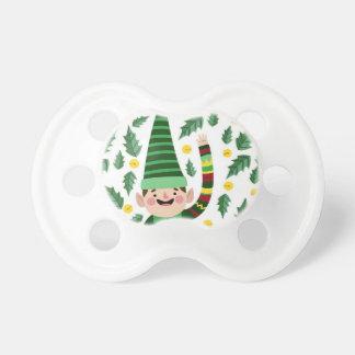 Elf Christmas Green Hat Leaves Cute Greeting Pacifier