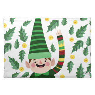 Elf Christmas Green Hat Leaves Cute Greeting Placemat