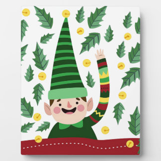 Elf Christmas Green Hat Leaves Cute Greeting Plaque