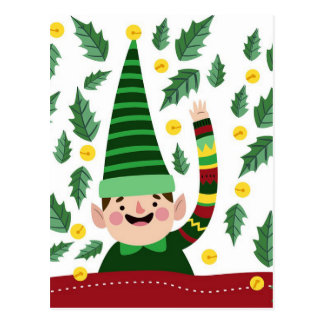 Elf Christmas Green Hat Leaves Cute Greeting Postcard