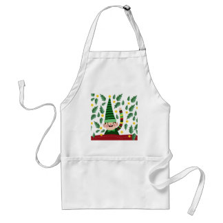 Elf Christmas Green Hat Leaves Cute Greeting Standard Apron