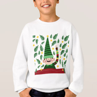 Elf Christmas Green Hat Leaves Cute Greeting Sweatshirt