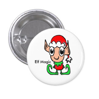 Elf Christmas Magic 1 Inch Round Button