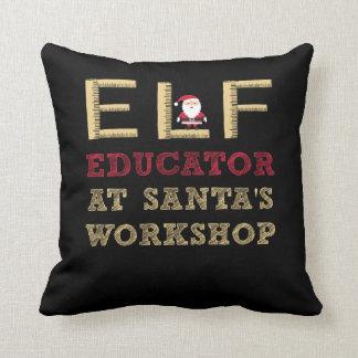 Elf Educator at Santa's Workshop Throw Pillow