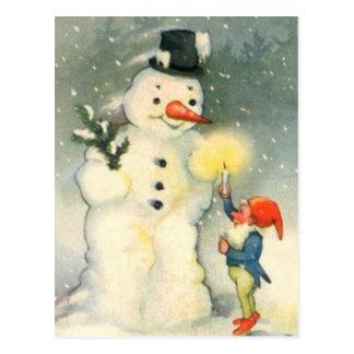 Elf et carte postale vintage de Noël de bonhomme d