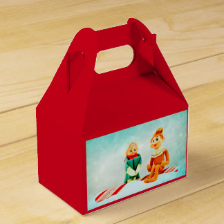 Elf First Date on Red Favor Box