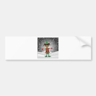 Elf in snow bumper sticker