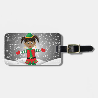 Elf in snow luggage tag