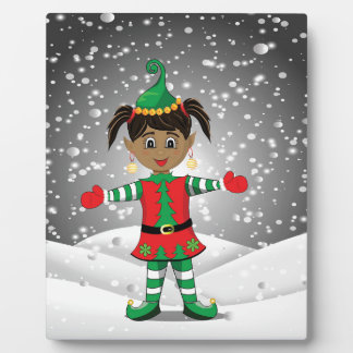 Elf in snow plaque