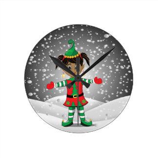 Elf in snow round clock
