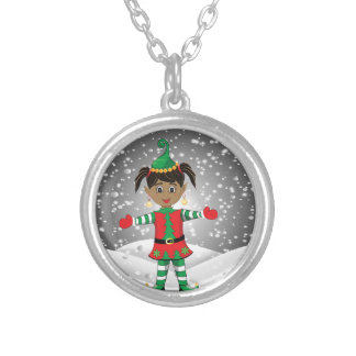Elf in snow silver plated necklace