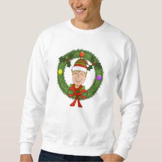 Elf in Wreath Mens Sweatshirt