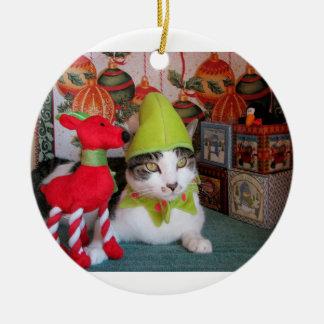 elf kitty ceramic ornament