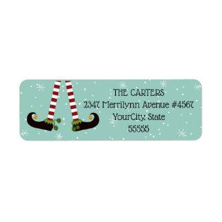Elf Legs, Changeable Aqua Background Color Return Address Label
