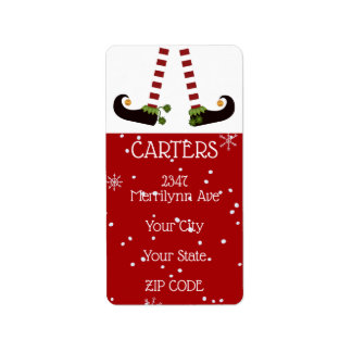 Elf Legs, Changeable Red Background Return Address Label