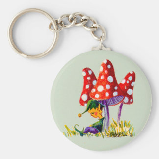 ELF & MUSHROOMS by SHARON SHARPE Keychain