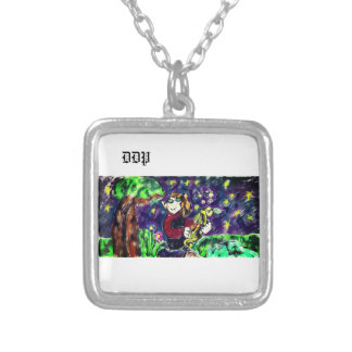 Elf night art silver plated necklace