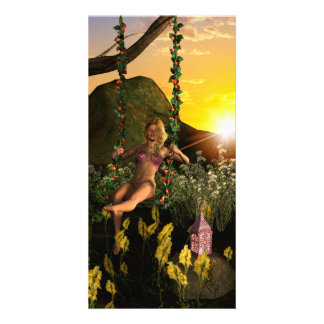 Elf on a swing picture card