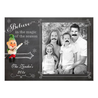 Elf on Shelf Mustache Holiday Photo Card