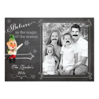 "Elf on Shelf  | Mustache Holiday Photo Card 5"" X 7"" Invitation Card"