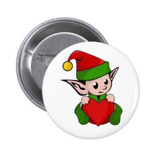 Elf red heart 2 inch round button