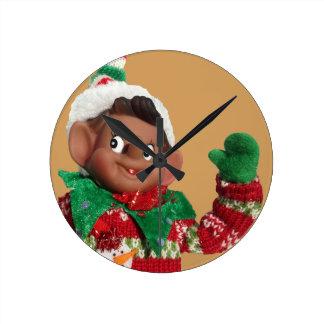 Elf Round Clock