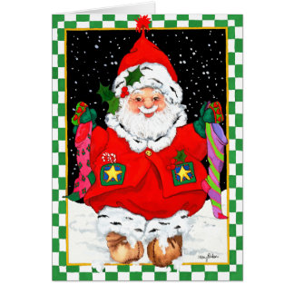 Elf Santa with Stockings Card