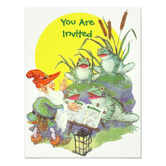 Elf sing Frogs Cattails Party birthday INVITATIONS