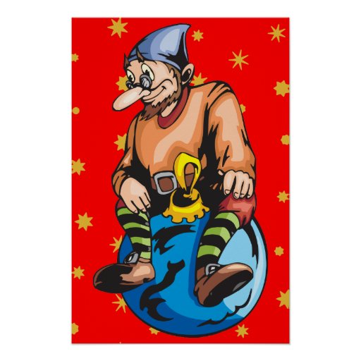 Elf Sitting On Christmas Ornament Posters