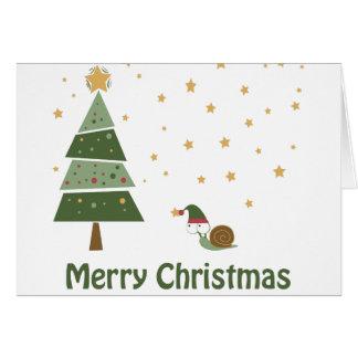 Elf Snail Christmas Scene Card