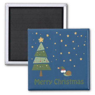 Elf Snail Christmas Scene Magnet