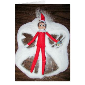 Elf Snow Angel Christmas Card (1193)