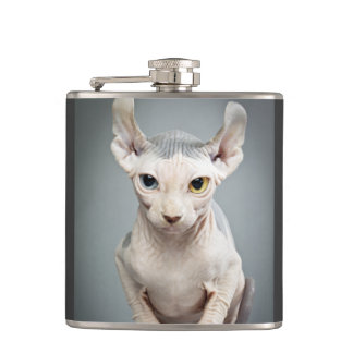 Elf Sphinx Cat Photograph Hip Flask