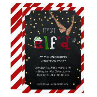 Elf Themed Holiday Christmas Party Card
