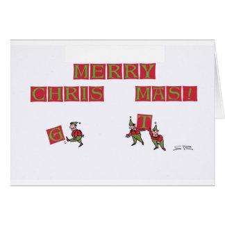 Elf Typo cartoon Christmas greeting card
