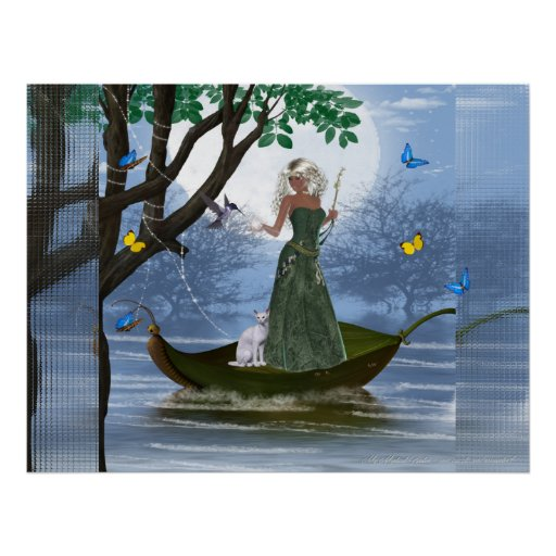 Elf & White Cat riding on a Leaf Poster Print