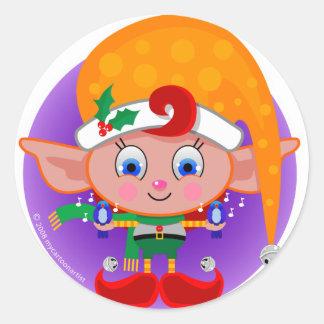 Elf with Bluebirds Classic Round Sticker